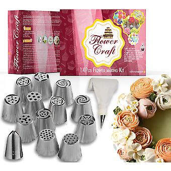 FlowerCraft - 17pc Set with 12 Various Russian Flower and Leaf Making Icing Nozzle Tips with 2 Sizes Re-usable Cotton Icing Bags for Cakes and Cupcakes