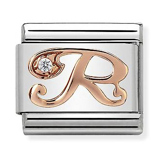 Nomination Classic Letter R Steel, CZ and 9k Rose Gold Link Charm 430310/18