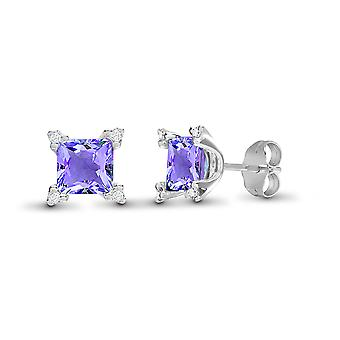 Jewelco London 18ct White Gold 3 Claw Set H I1 0.1ct Diamond and Princess Purple 2.1ct Amethyst Square Stud Earrings