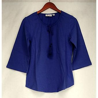 Denim & Co. Top Scoop Neck 3/4 Sleeve Peasant Style + Neck Tie Lilac A274344