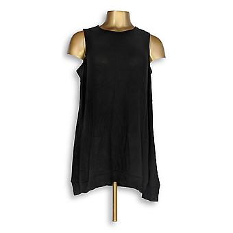Anybody Women's Sweater Brushed Hacci Cold Shoulder Black A293071