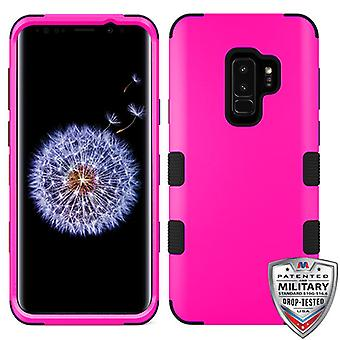 MYBAT Titanium Solid Hot Pink/Black TUFF Hybrid Phone Protector Cover for Galaxy S9 Plus