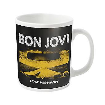 Bon Jovi Mug Lost Highway Album band logo new Official White