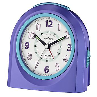 ATRIUM Alarm Clock Analog Quartz Purple A921-8 without ticking with light and snooze