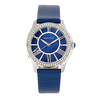 Bertha Donna Mother-of-Pearl Leather-Band Watch - Blue