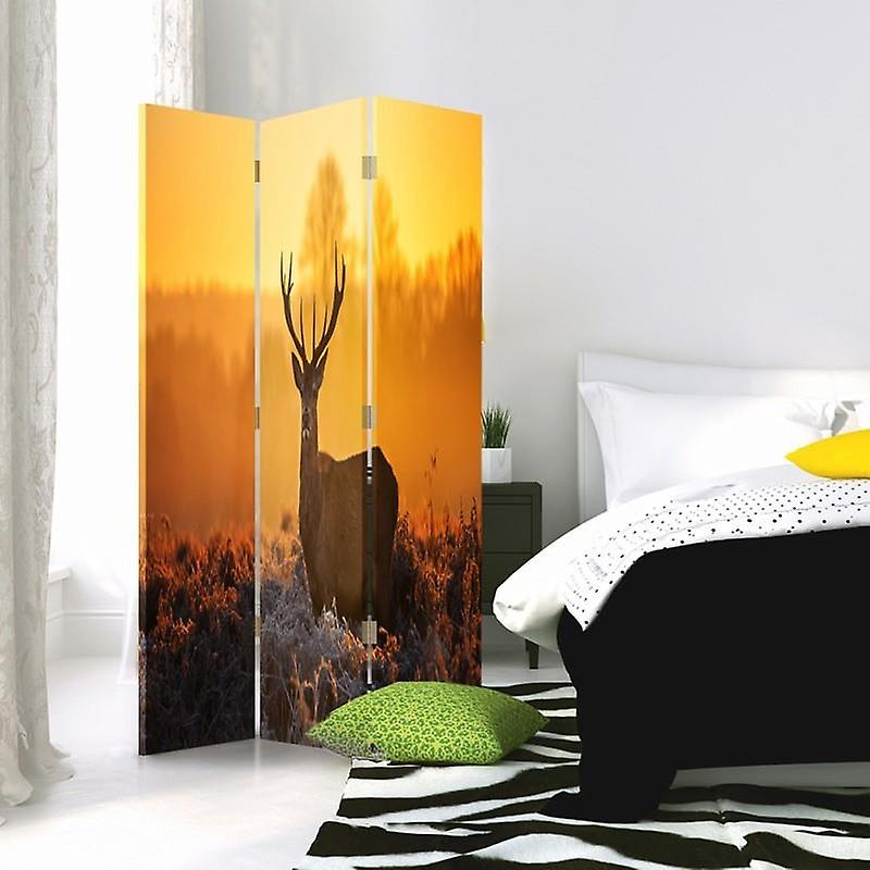 Diviseur de chambre, 3 panneaux, à un seul côté, toile, coucher de soleil de cerf 2