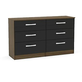 Lynx 6 Drawer Chest - Walnut & Black