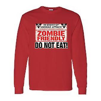 Uomini's Divertente zombi amichevole, non mangiare! T-shirt a maniche lunghe