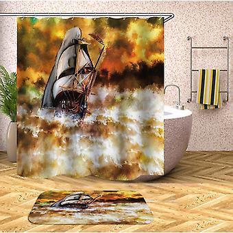Atemberaubende Segelboot Kunst Malerei Dusche Vorhang