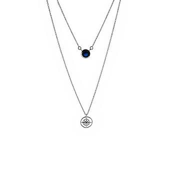 Outlander Inspired Scottish Outlander & apos;Voyager' Inspired Compass Double Necklace Pendant - Sapphire Colour Stone