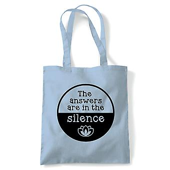 Answers In The Silence Tote | Meditate Meditation Peace Calm Quiet Mind Spirit | Reusable Shopping Cotton Canvas Long Handled Natural Shopper Eco-Friendly Fashion