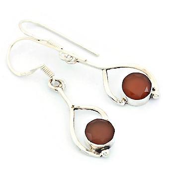 Karneol Ohrringe 925 Silber Sterlingsilber Ohrhänger orange rot (KLE-OH-080)