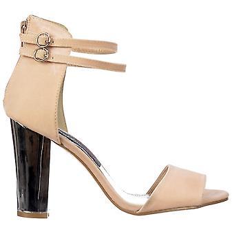 Onlineshoe peep toe mid hakken-hoge terug strappy sandalen zilver blok hiel-crème beige suede