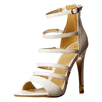Onlineshoe Gladiator High Heel - Ankle Strap And Gold Heel Tips