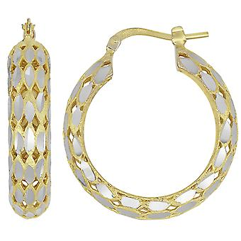 14K Yellow Gold Classic High Polished Facet Cut Womens Hoops Brincos