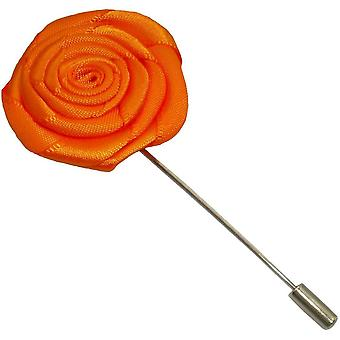 Bassin and Brown Rose Lapel Pin - Orange