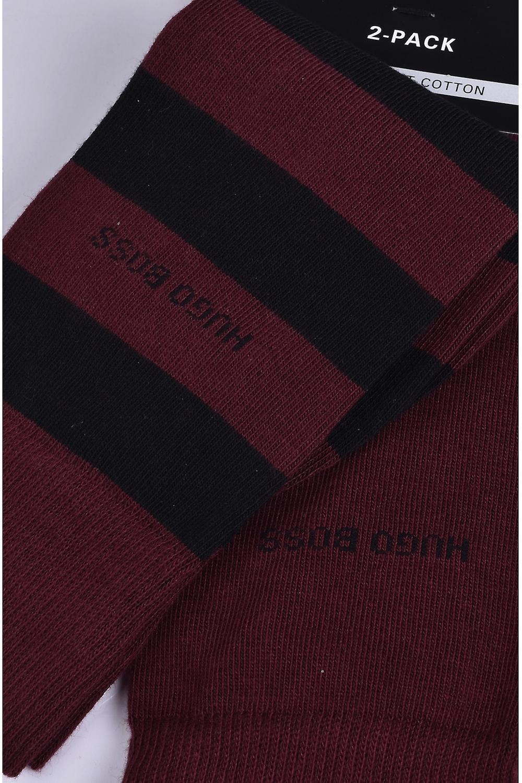 BOSS Footwear & Accessories Boss 2 Pack Block Stripe Socks Dark Red