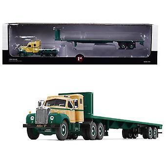 Mack B-61 Sleeper Cab With 48' Flatbed Trailer Killer B Green And Beige 1/64 Diecast Model By First Gear