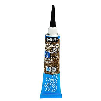 Pebeo Setacolor 3D Glitter Fabric Paint 20ml - 40 Rich Gold