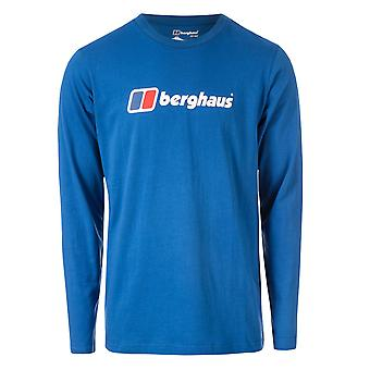 Mens Berghaus Big Corp Logo Long Sleeve T-Shirt In Blue
