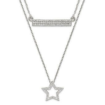 1.03mm 925 Sterling Silver Polished CZ Cubic Zirconia Simulated Diamond Star and Bar 2 strand Necklace 16 Inch Jewelry G