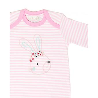 The Essential One Baby Girls Sleepsuit In White And Pink Stripe
