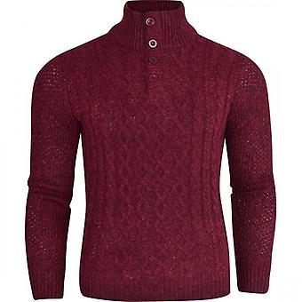 Secolo Mens Designer Button Front Jumper Funnel Neck ‰Û÷Cable Knit‰Ûª  Sweater Knitwear Pullover