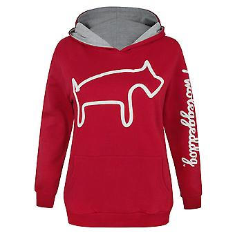 Two Legged Dog Puff Print Women's Hoodie
