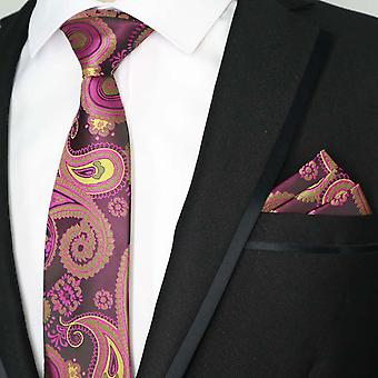 Light pink red & brown swirl paisley pocket square set