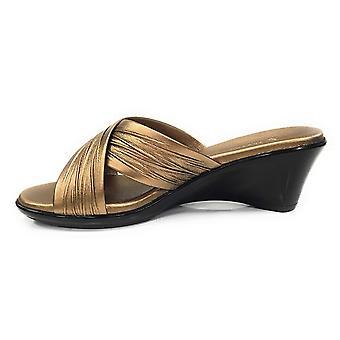 ITALIAN Shoemakers Women's Softy Wedge Sandal, Bronze,