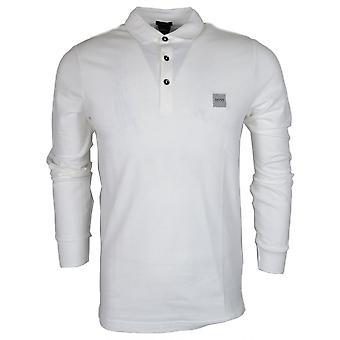 Hugo Boss Passerby pitkähihainen puuvilla valkoinen poolo paita