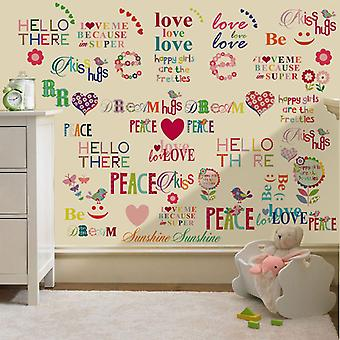 Ready Steady Bed Hello There Design Children's Removable and Repositionable Wall Stickers Nursery D cor Decal Art