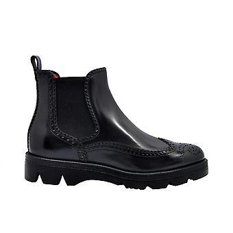 Santoni Wtud57557smoclbcn80 Women's Black Leather Ankle Boots