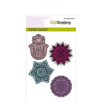 CraftEmotions Clear Stamps A6 - mão, enfeites de flores Felicidade