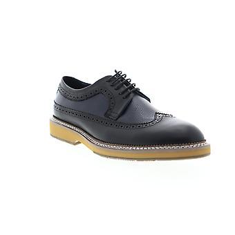 Zanzara Fouquet  Mens Black Leather Casual Lace Up Oxfords Shoes