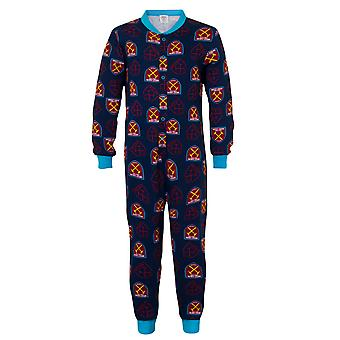 West Ham United Boys Pyjama All-In-One Sleepwear OFFICIAL Football Gift