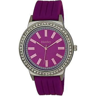 Henley Glamour Purple Silicone Strap Watch with Diamante Crystal H0838.7