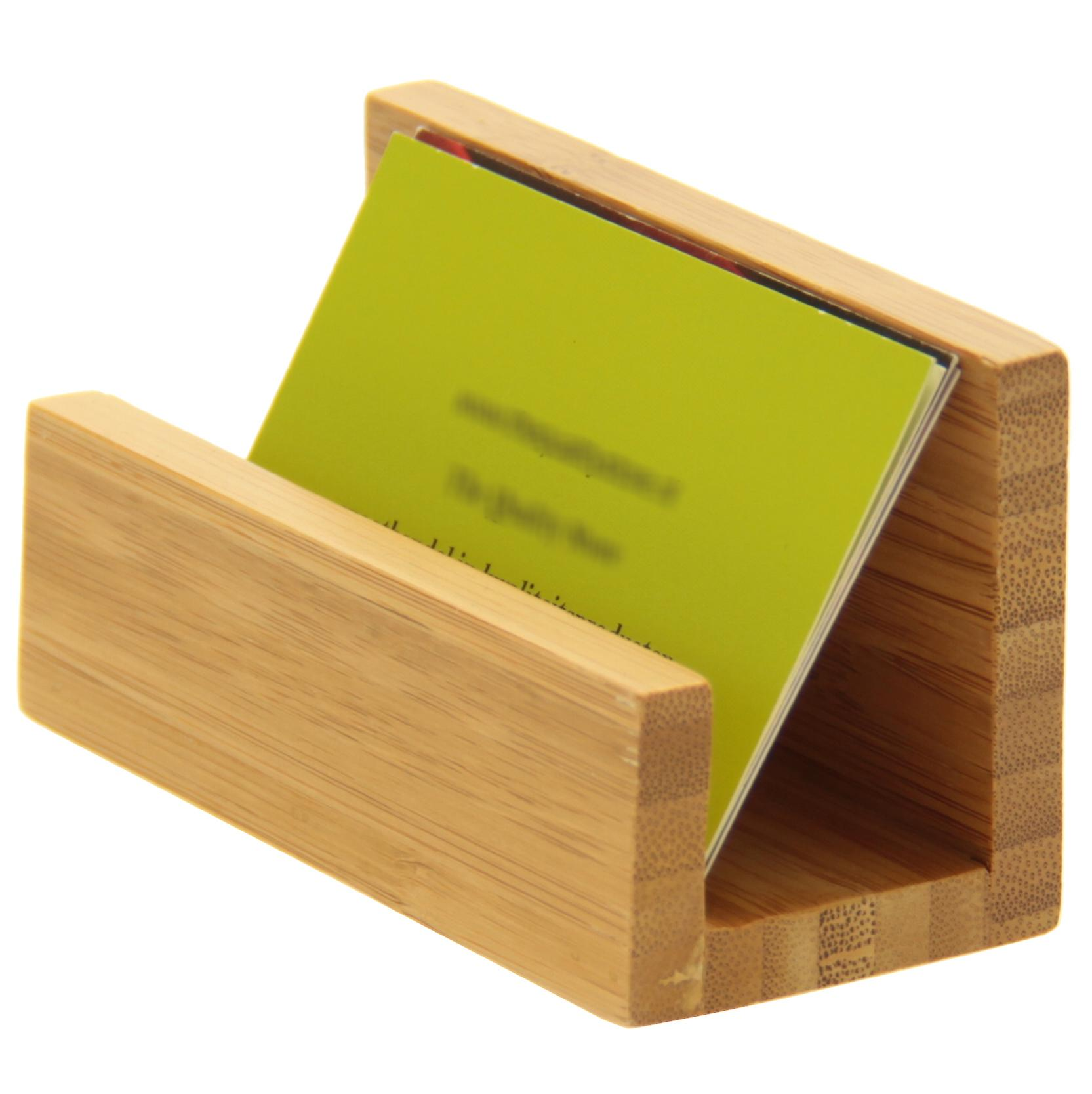 Woodquail Bamboo Business Card Holder, Desk Tidy