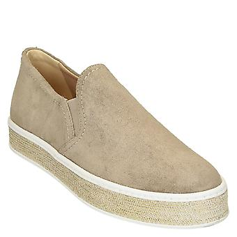 Beige suede slip-ons sneakers with gold paiette platform