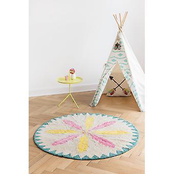 Round carpet baby girl Indians Yellow/Pink diameter 150cm