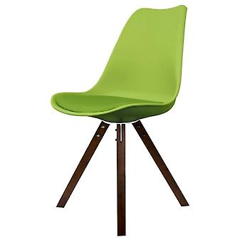 Fusion Living Eiffel Inspired Green Plastic Dining Chair With Square Pyramid Dark Wood Legs