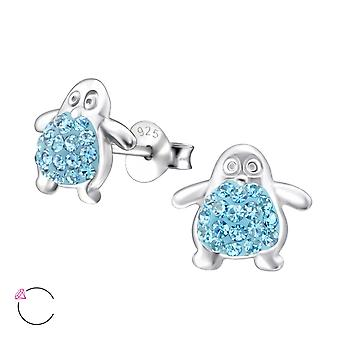 Pinguin - 925 Sterling Silber Crystal Ohrstecker - W24685x