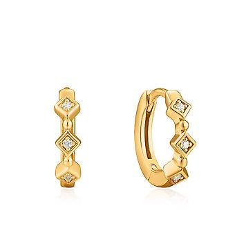 Ania Haie Ear We Go Shiny Gold Sparkle Huggie Hoops E023-01G