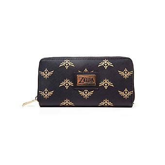 Zelda Purse Hyrule Crest All over print new Official Nintendo Black Zip Around