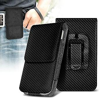 Nokia 9 PureView Carbon Black XXLarge vertical Faux Leather Belt Funda Cover Case