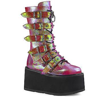 Demonia Women's Boots DAMNED-225 Cuir végétalien Iridescent rose-vert
