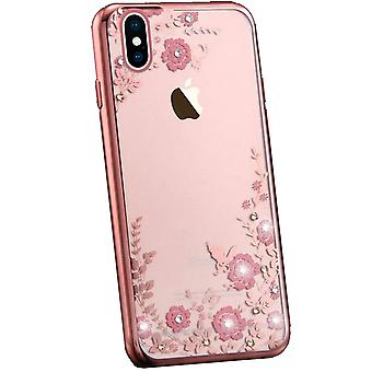 Flower Bling Glitter Diamond Sparkly Soft Gel Cover Voor iPhone X 8 7 6 5s 5