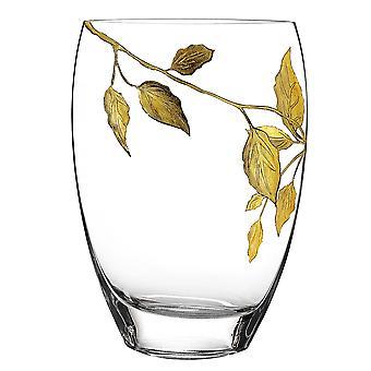 """12"""" 金の葉の花瓶で飾られた口吹き手"""