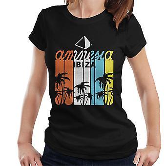 Amnezi Ibiza Çok Renkli Palmiye Ağacı Logo Kadın's T-Shirt