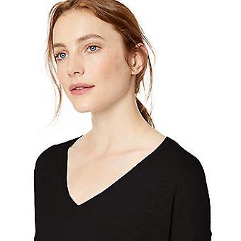 Merk - Daily Ritual Women's Lichtgewicht V-Neck Sweater, Zwart, Medium